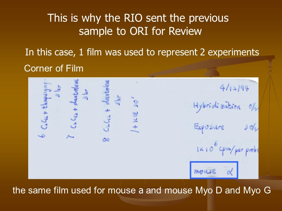This is why the RIO sent the previous sample to ORI for Review