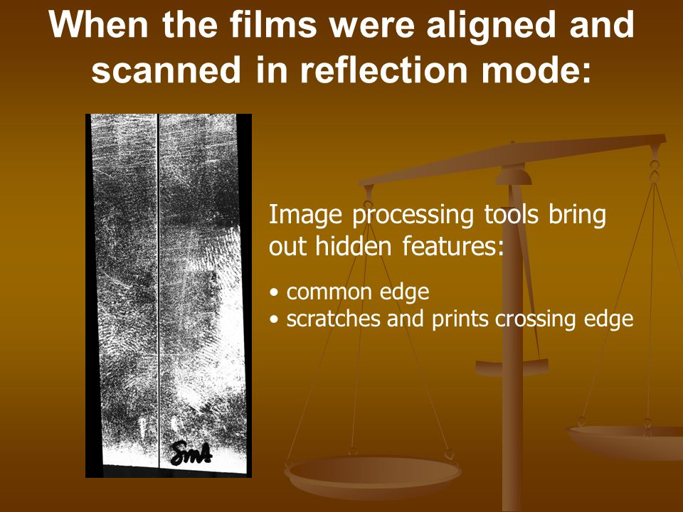When the films were aligned and scanned in reflection mode: