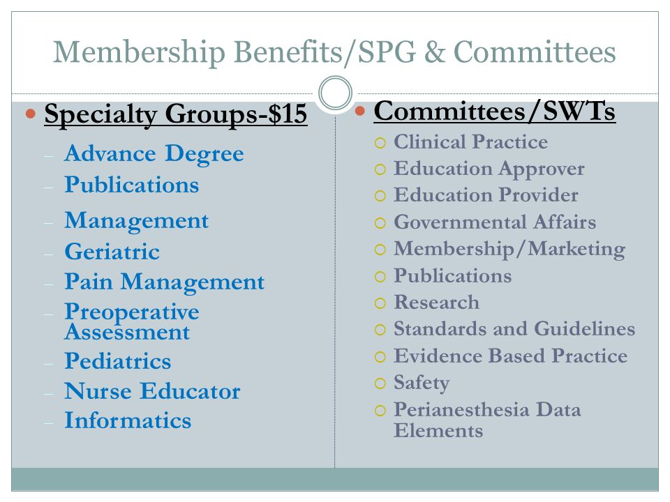 Membership Benefits/SPG & Committees