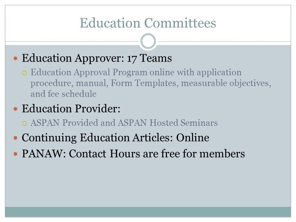 Education Committees Education Approver: 17 Teams Education Provider: