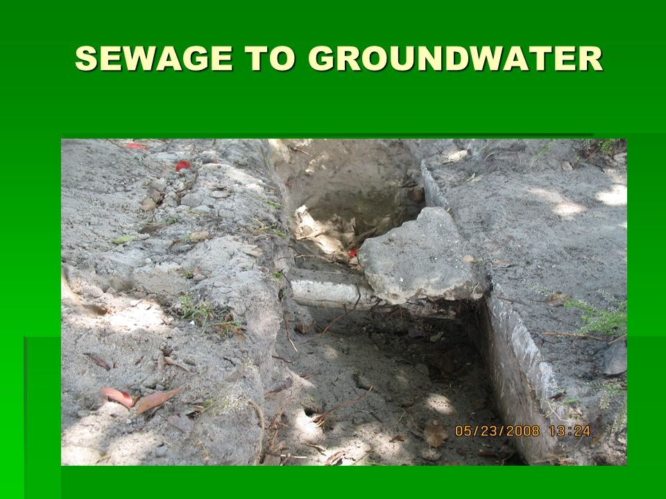 SEWAGE TO GROUNDWATER