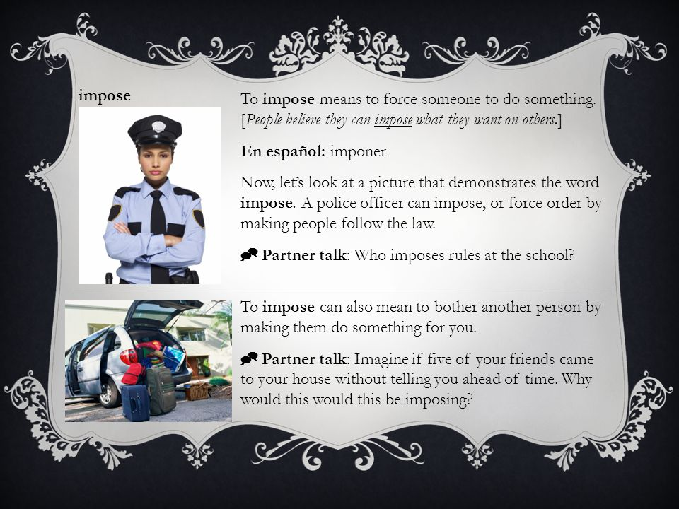  Partner talk: Who imposes rules at the school