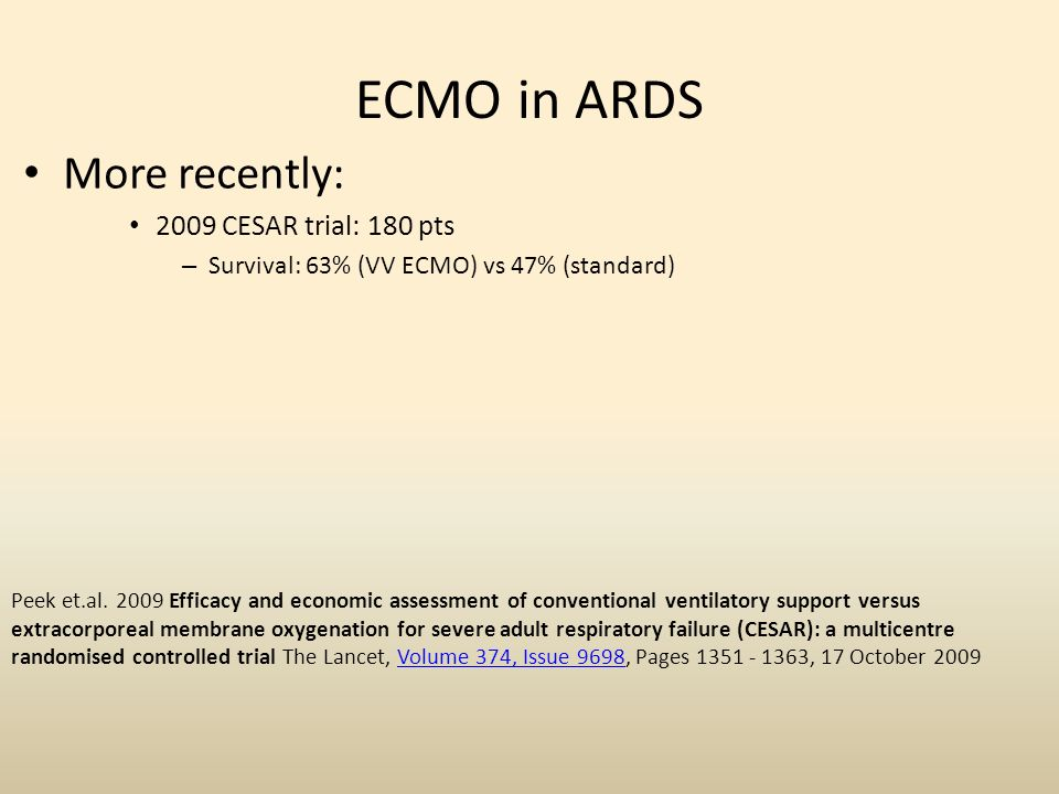 ECMO in ARDS More recently: 2009 CESAR trial: 180 pts