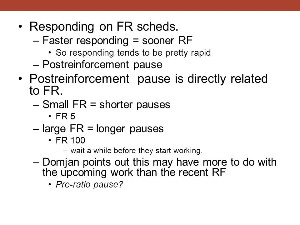 Responding on FR scheds.