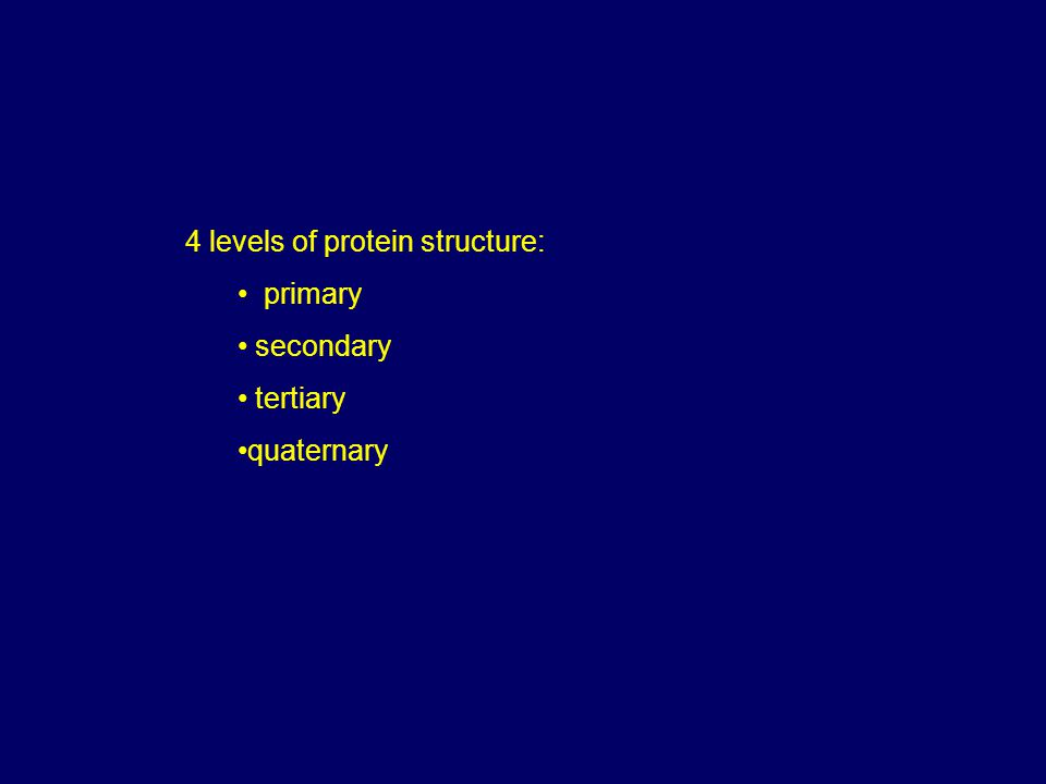 4 levels of protein structure: