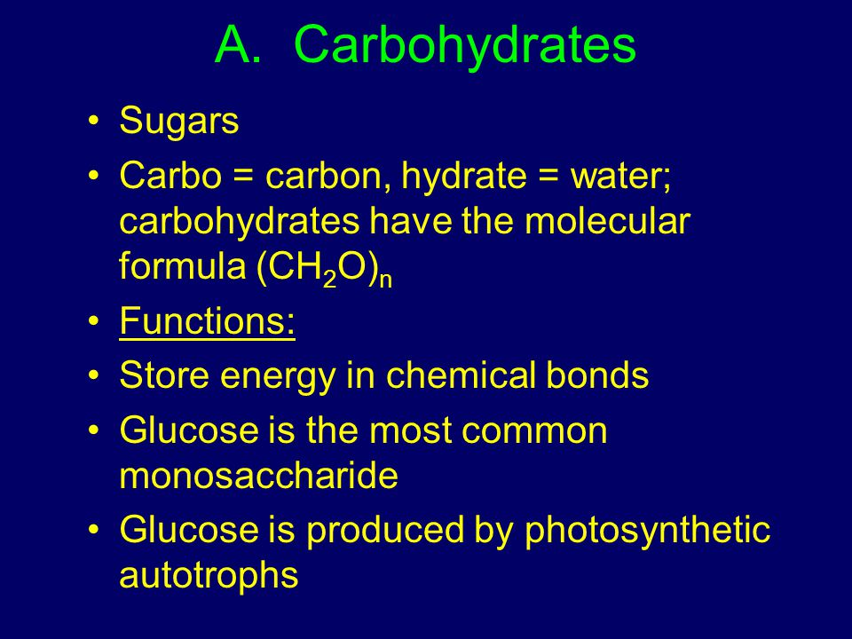 A. Carbohydrates Sugars