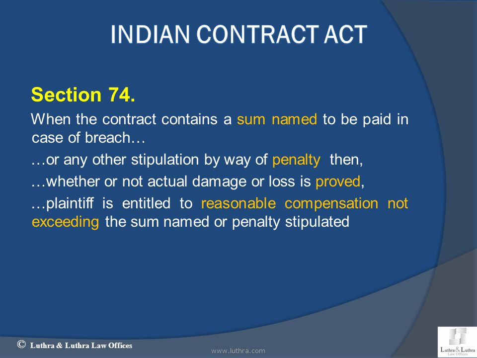Indian Contract Act Section 74.