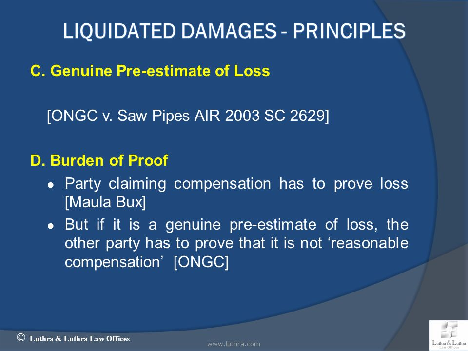 LIQUIDATED Damages - Principles