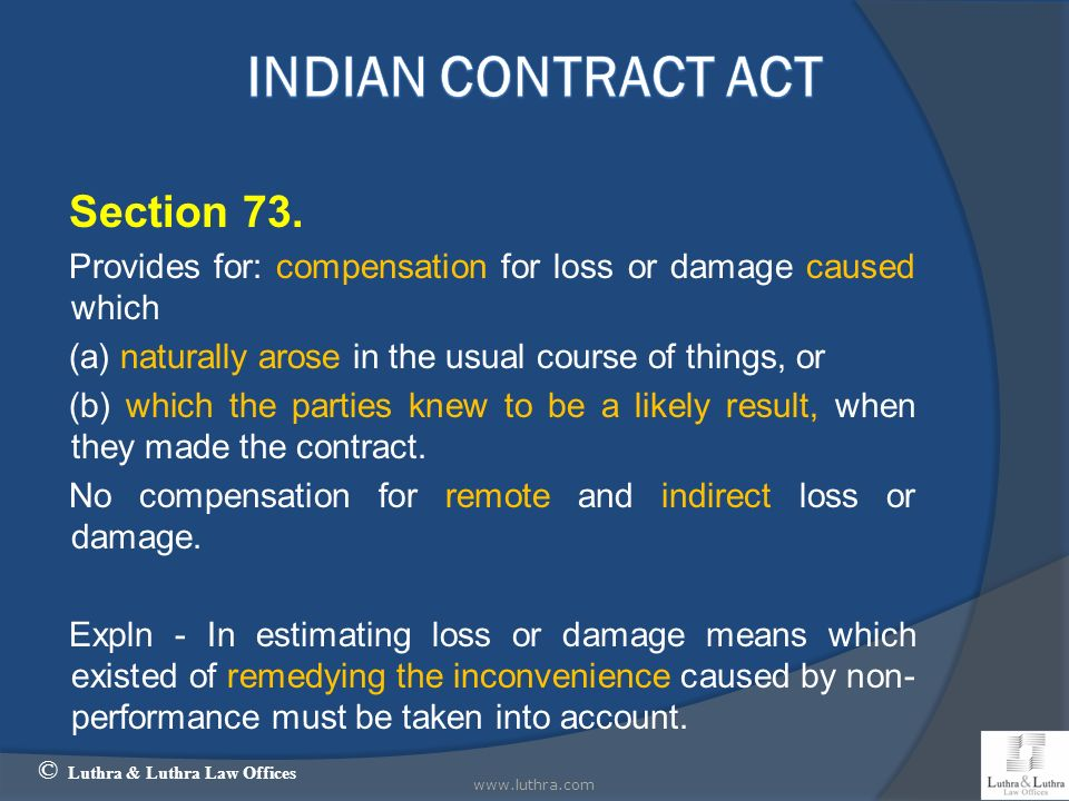 Indian Contract Act Section 73.