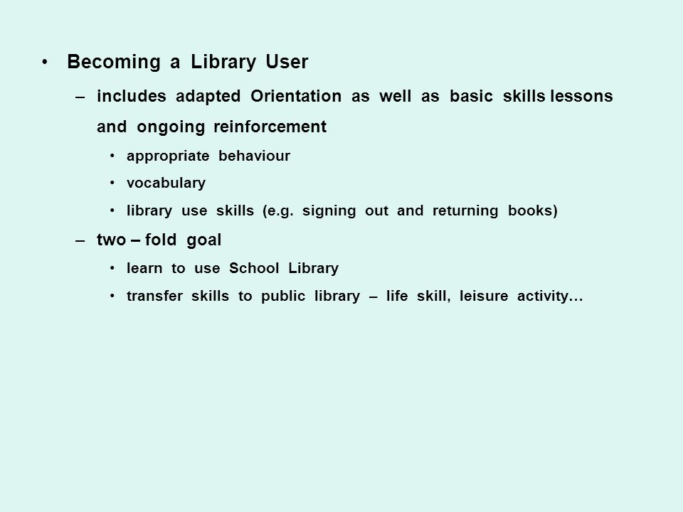 Becoming a Library User