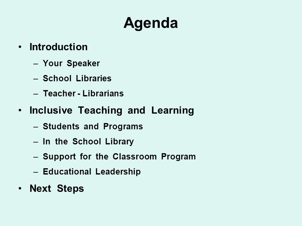 Agenda Introduction Inclusive Teaching and Learning Next Steps