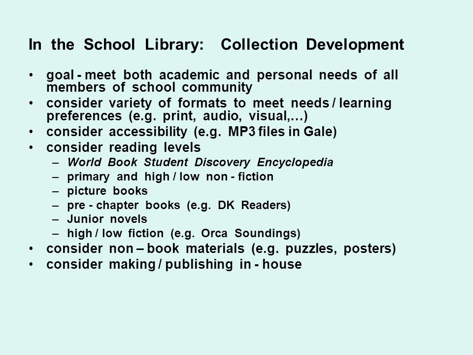 In the School Library: Collection Development