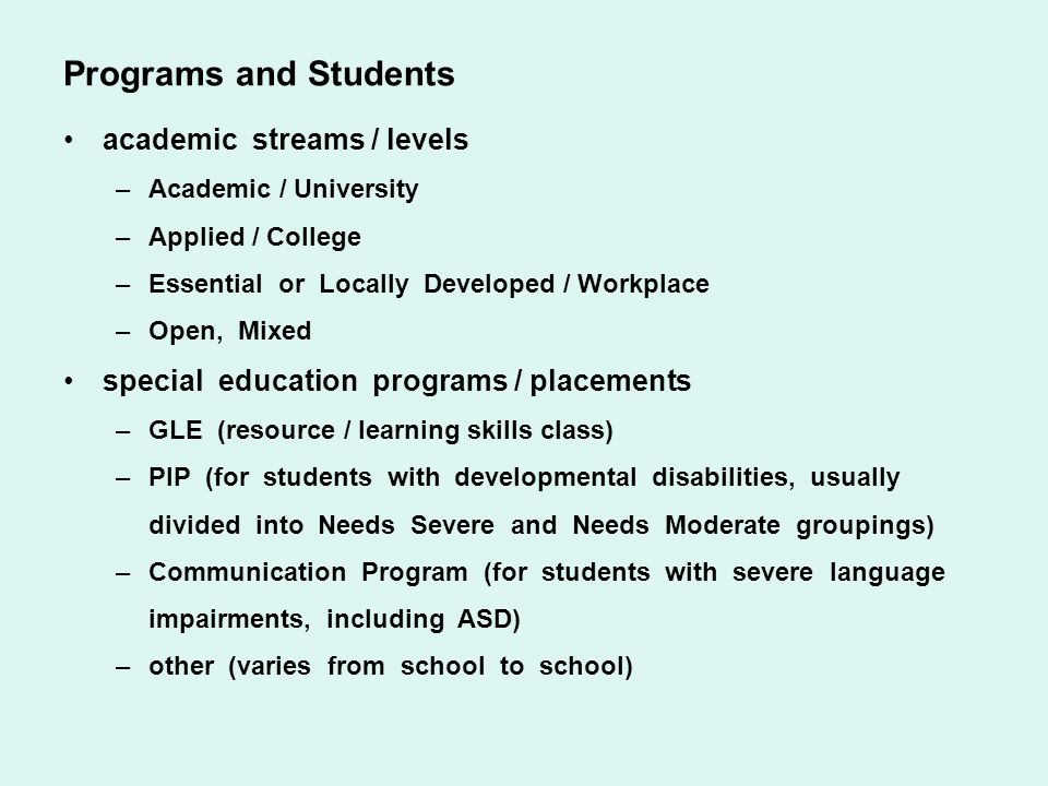 Programs and Students academic streams / levels
