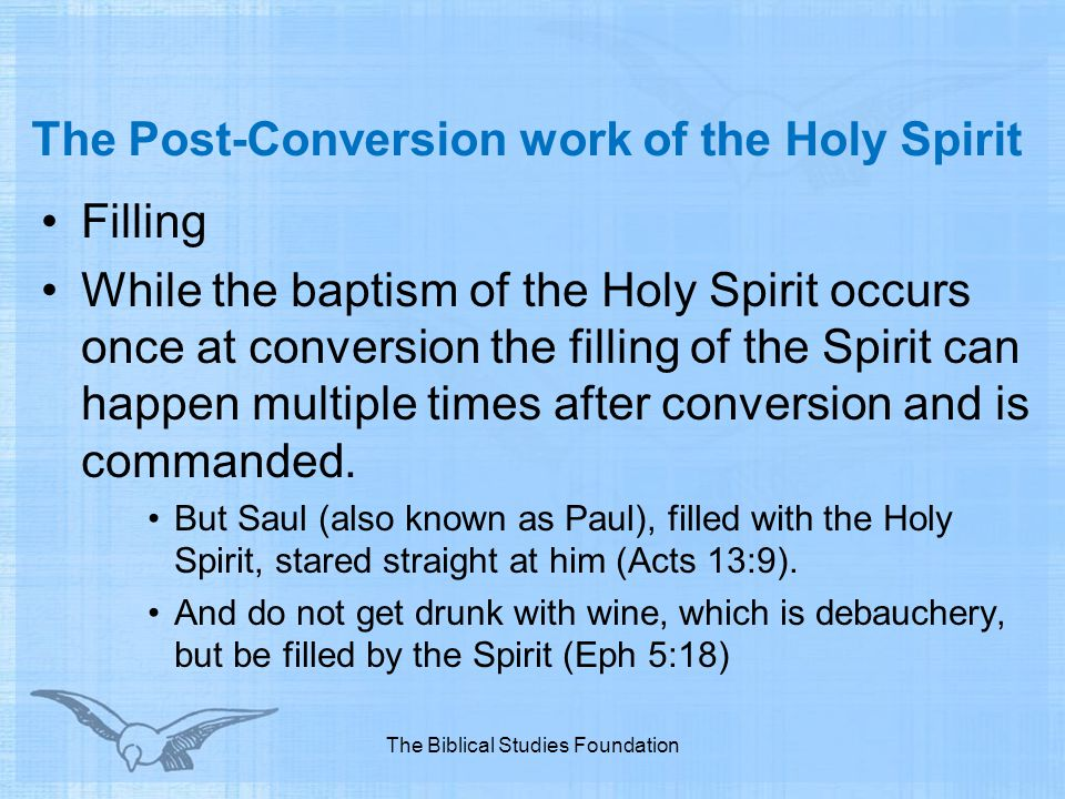 The Post-Conversion work of the Holy Spirit