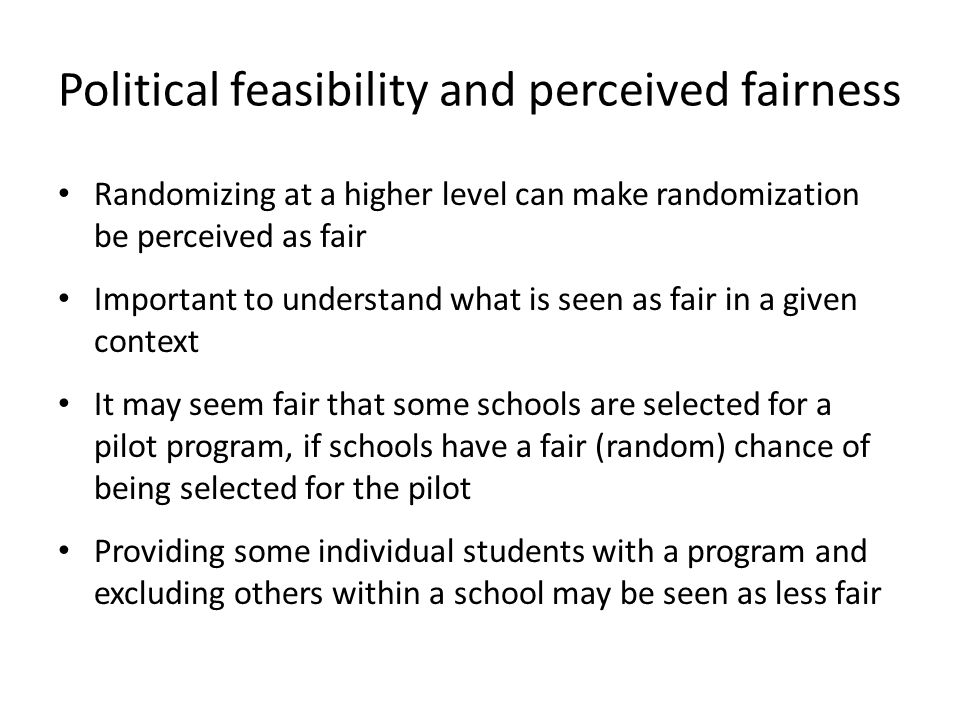 Political feasibility and perceived fairness