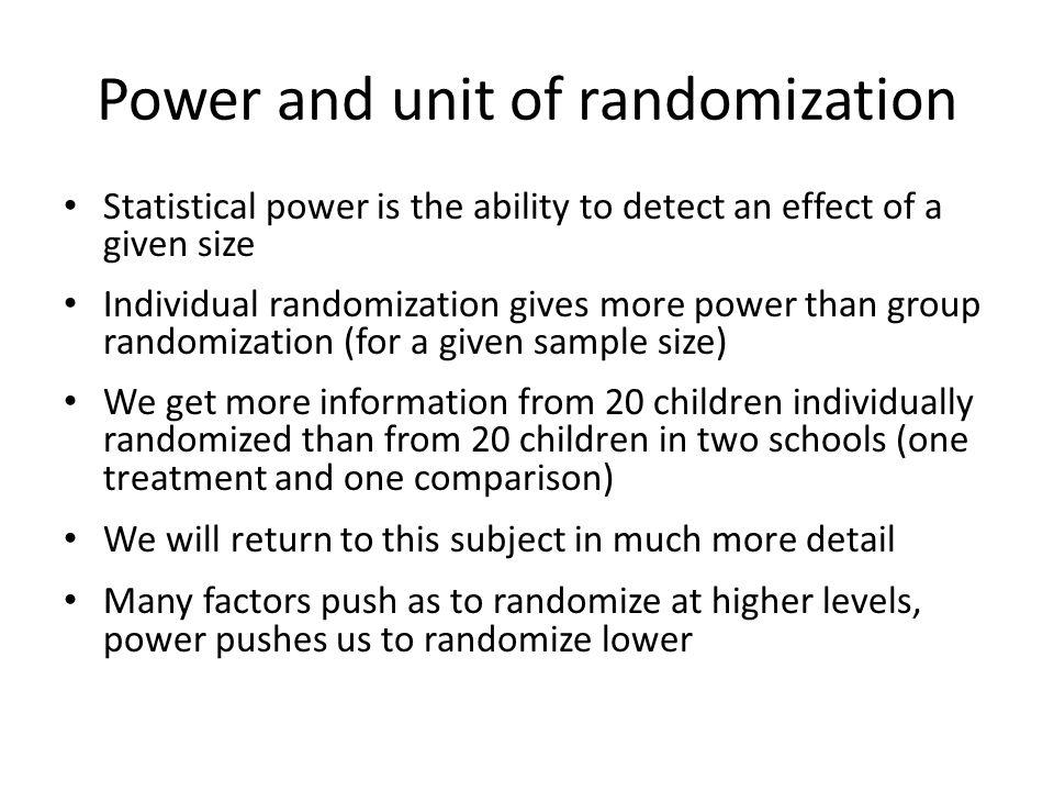 Power and unit of randomization