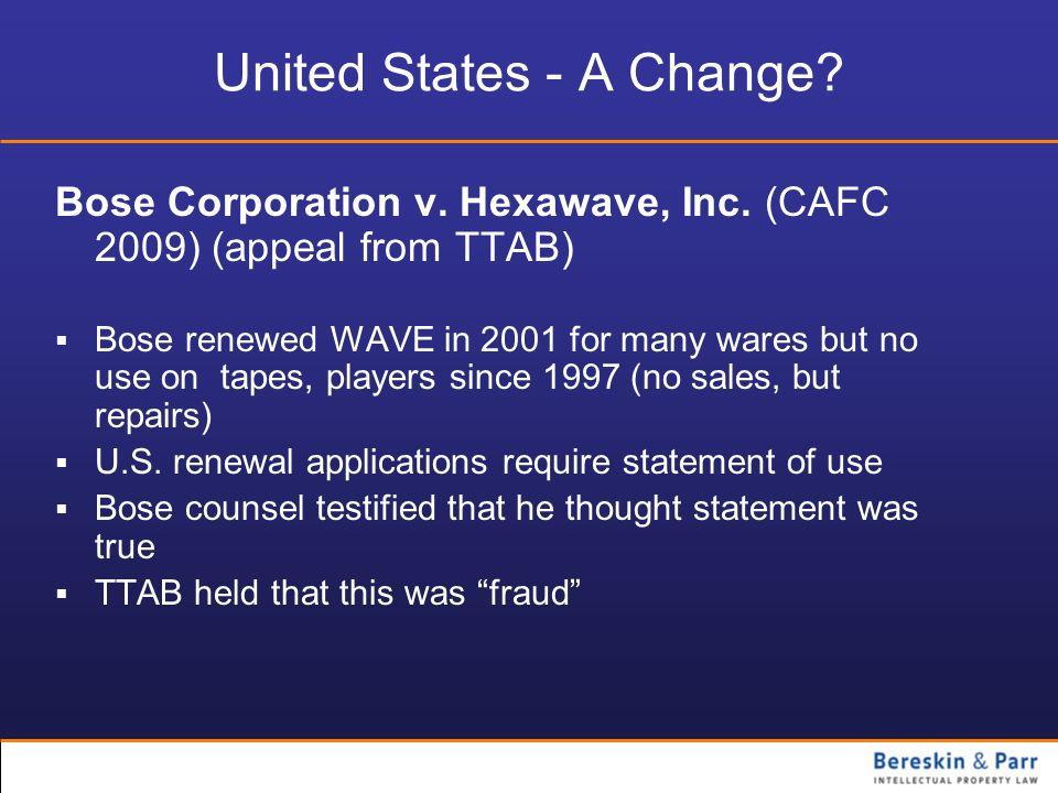 United States - A Change