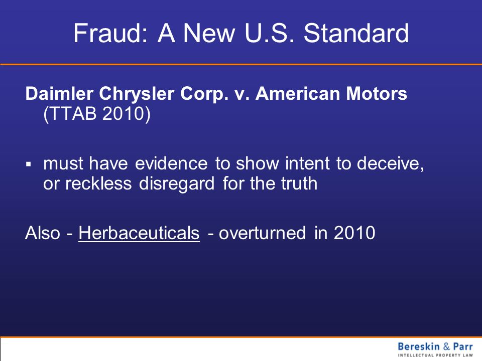 Fraud: A New U.S. Standard