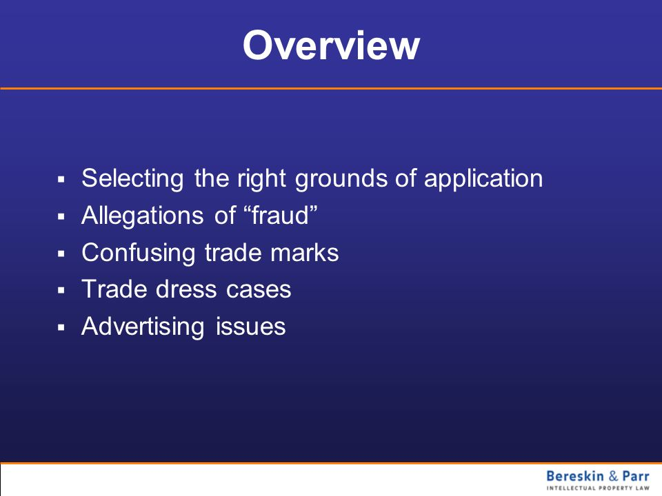 Overview Selecting the right grounds of application