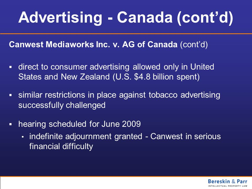 Advertising - Canada (cont'd)