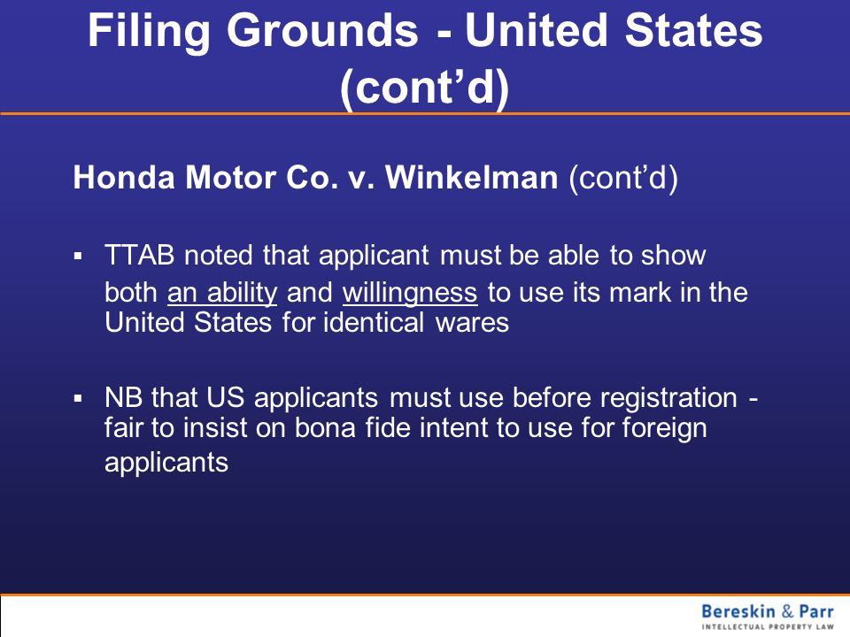 Filing Grounds - United States (cont'd)