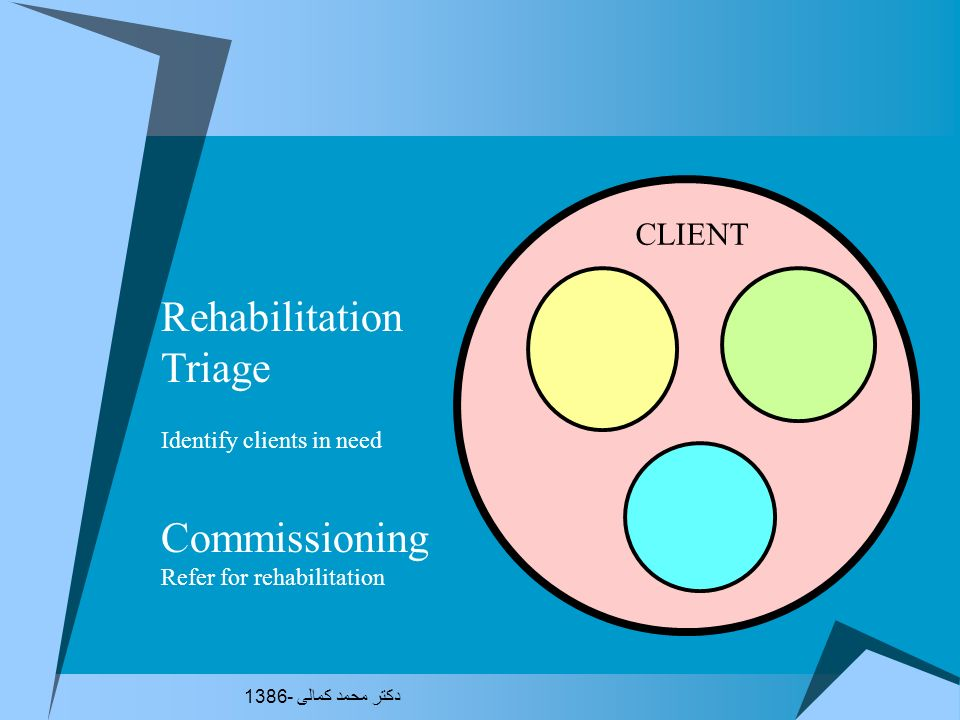 Rehabilitation Triage Commissioning CLIENT Identify clients in need