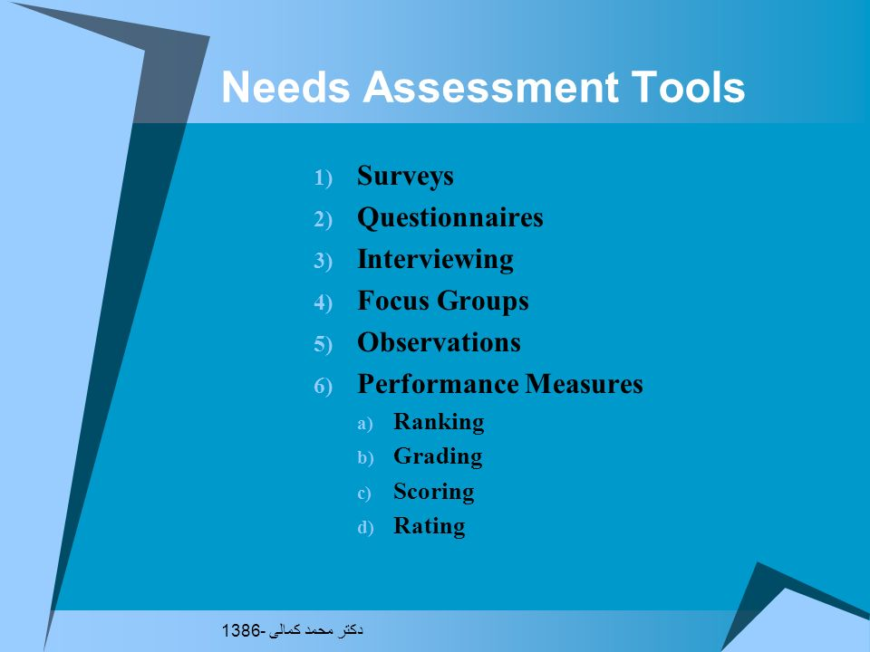Needs Assessment Tools