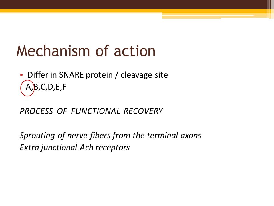 Mechanism of action Differ in SNARE protein / cleavage site