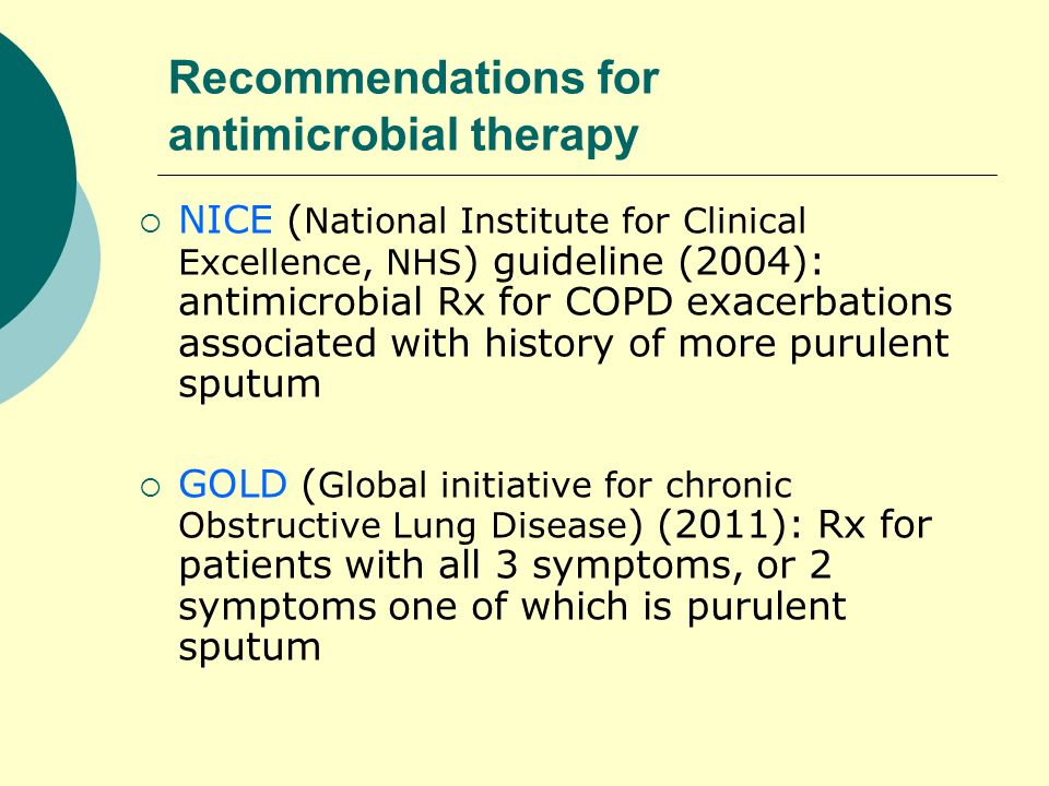 Recommendations for antimicrobial therapy