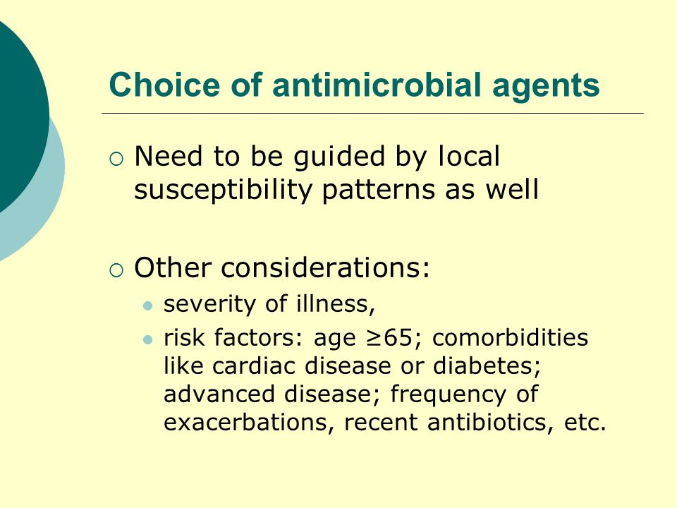 Choice of antimicrobial agents
