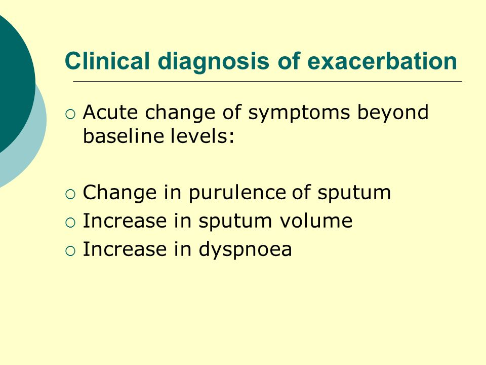 Clinical diagnosis of exacerbation