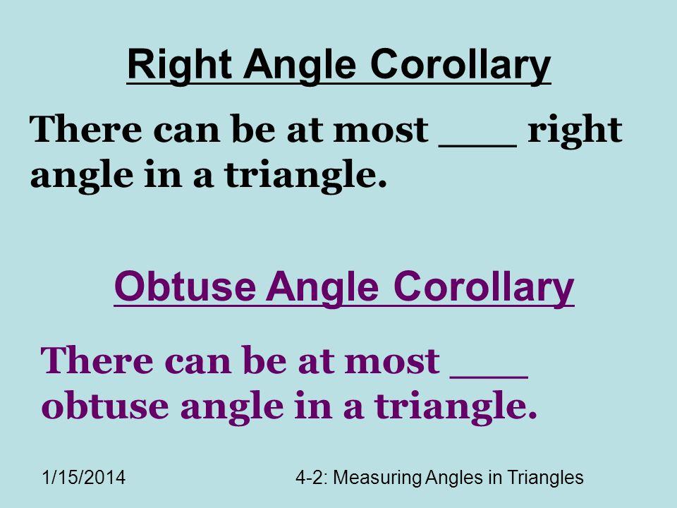 Obtuse Angle Corollary