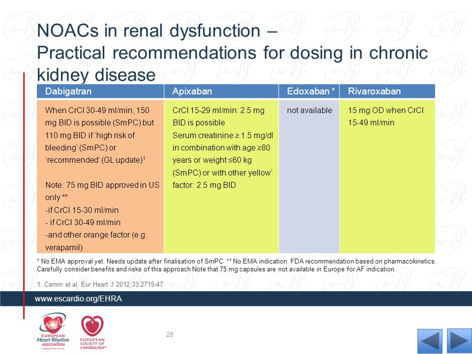 NOACs in renal dysfunction – Practical recommendations for dosing in chronic kidney disease