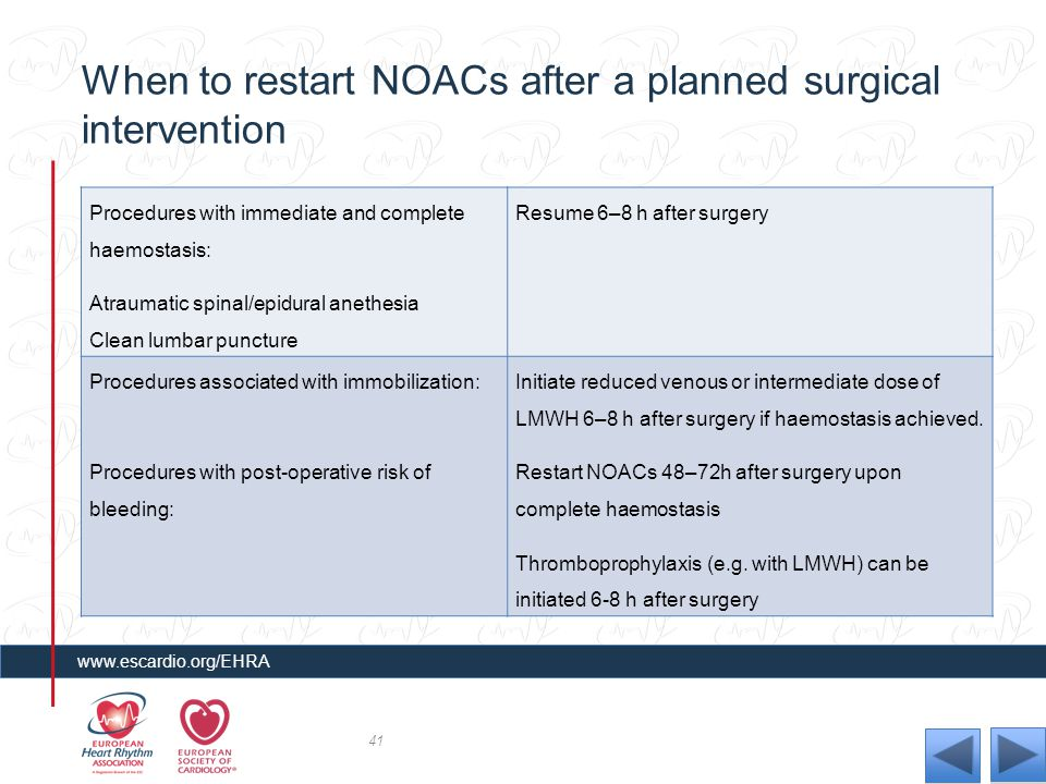 When to restart NOACs after a planned surgical intervention