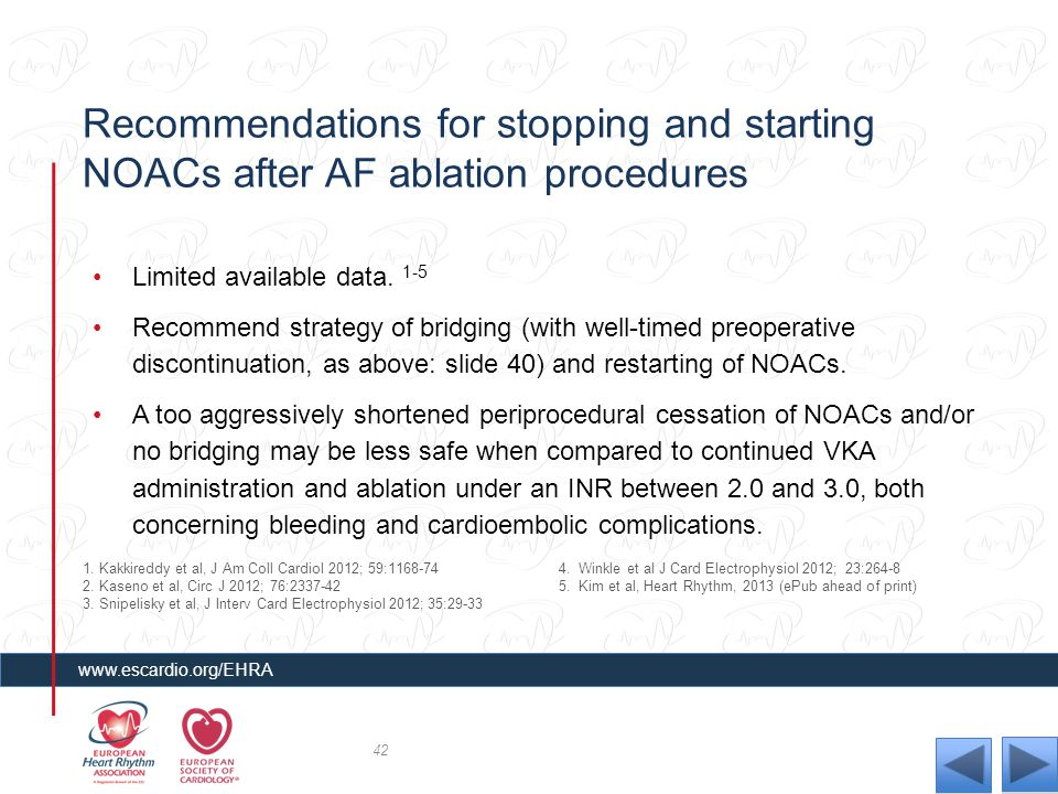 Recommendations for stopping and starting NOACs after AF ablation procedures