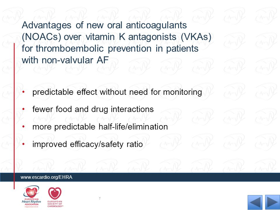 Advantages of new oral anticoagulants (NOACs) over vitamin K antagonists (VKAs) for thromboembolic prevention in patients with non-valvular AF