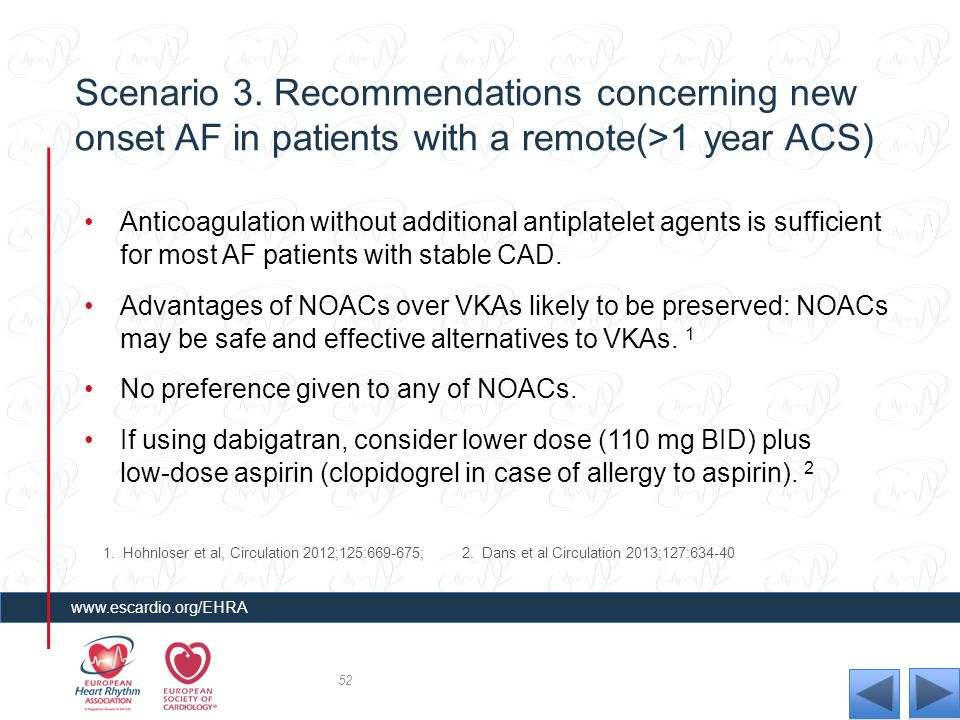 Scenario 3. Recommendations concerning new onset AF in patients with a remote(>1 year ACS)