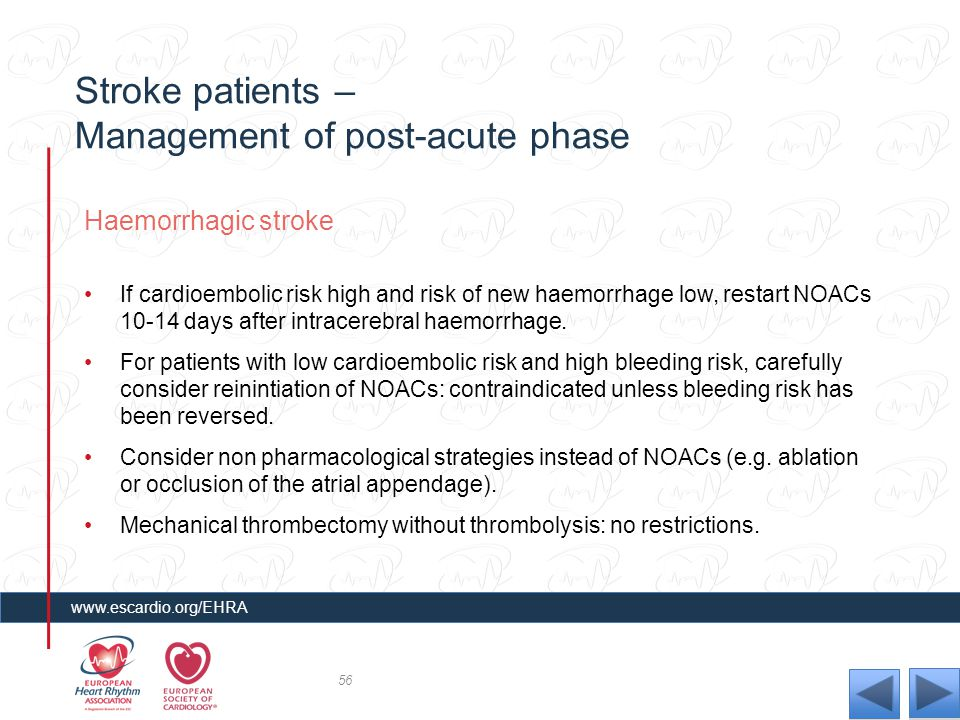 Stroke patients – Management of post-acute phase