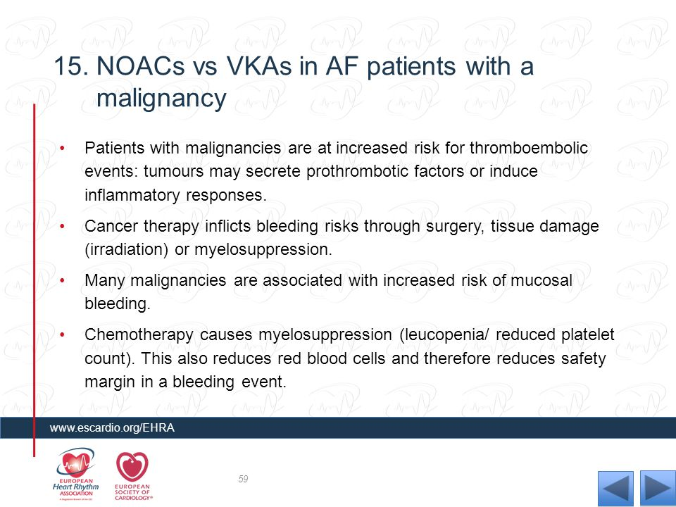 15. NOACs vs VKAs in AF patients with a malignancy