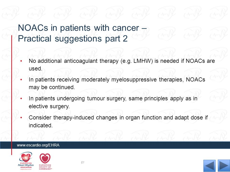 NOACs in patients with cancer – Practical suggestions part 2