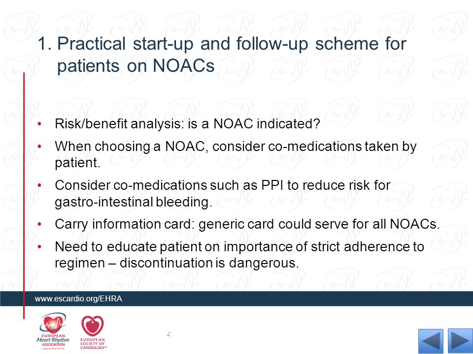 1. Practical start-up and follow-up scheme for patients on NOACs