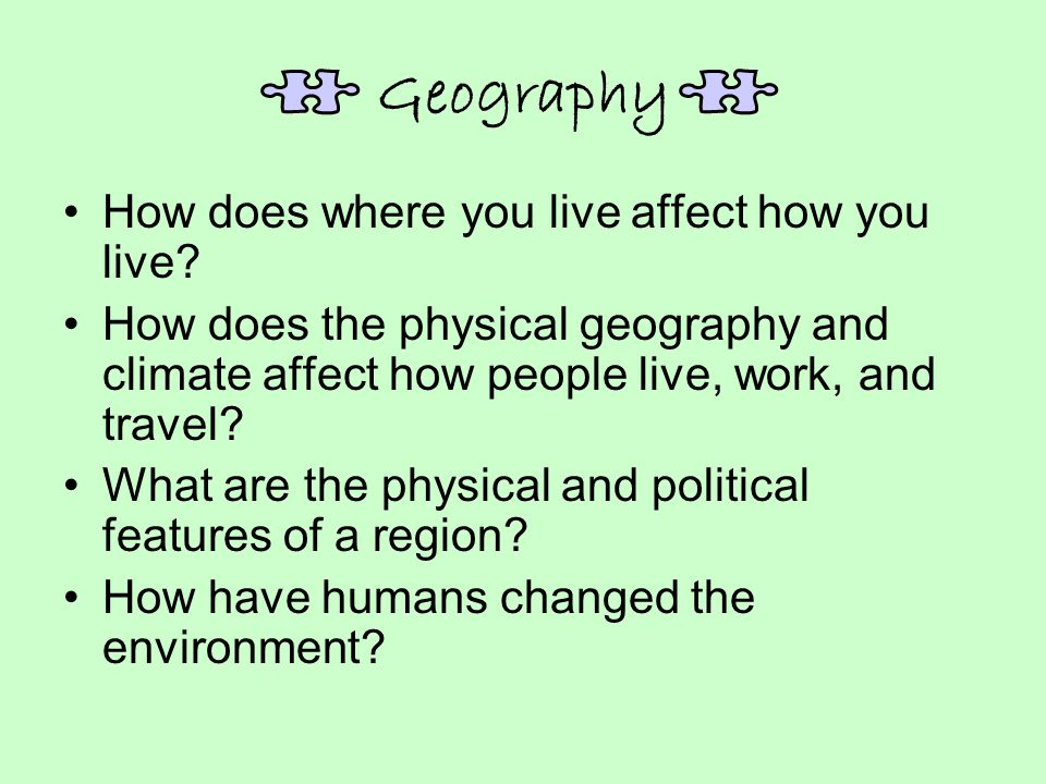 Geography How does where you live affect how you live