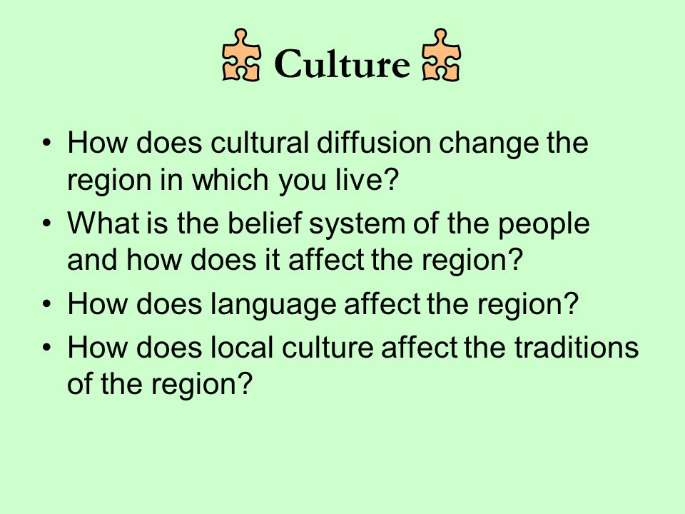 Culture How does cultural diffusion change the region in which you live What is the belief system of the people and how does it affect the region