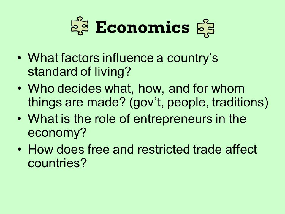 Economics What factors influence a country's standard of living