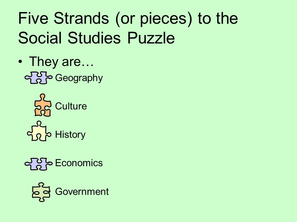 Five Strands (or pieces) to the Social Studies Puzzle