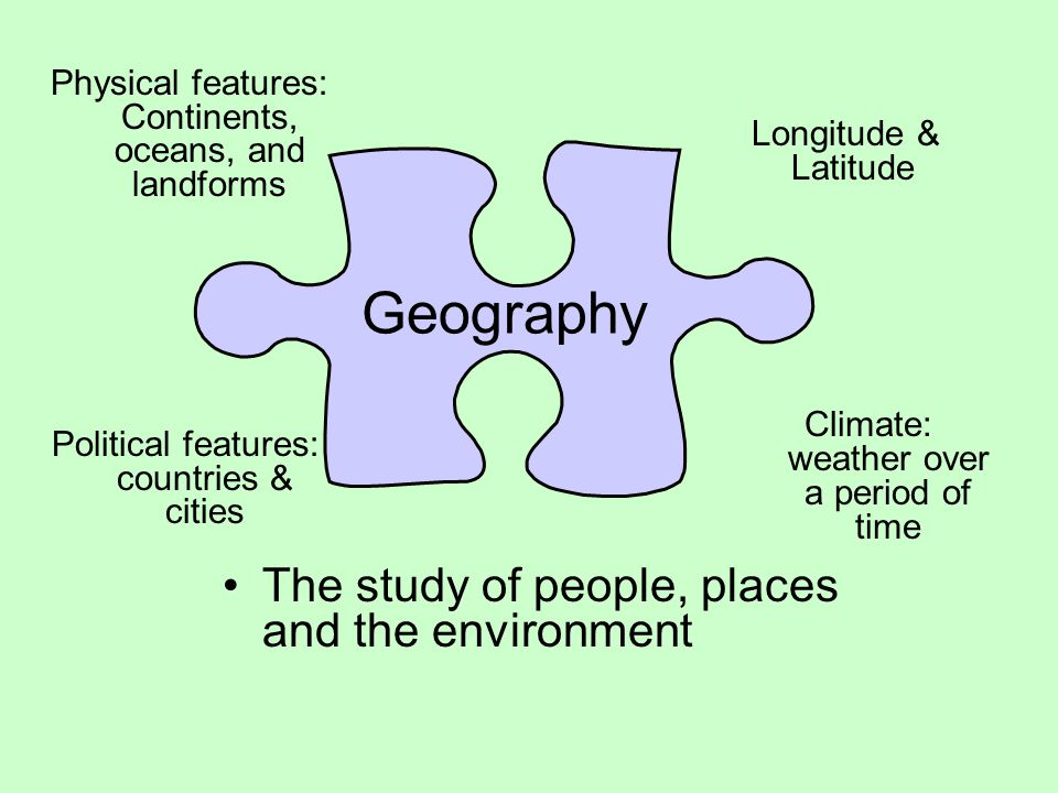 Geography The study of people, places and the environment