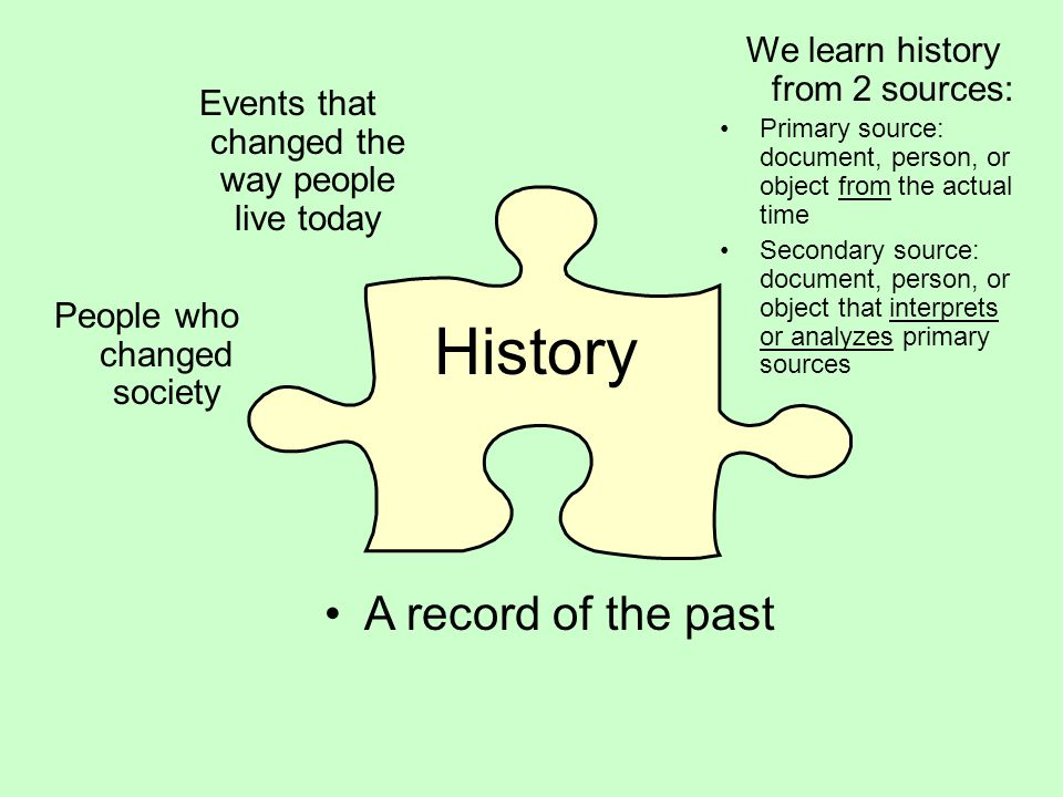 History A record of the past We learn history from 2 sources: