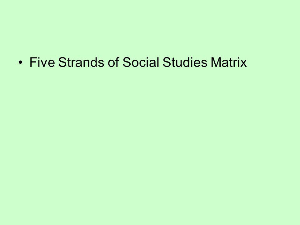 Five Strands of Social Studies Matrix