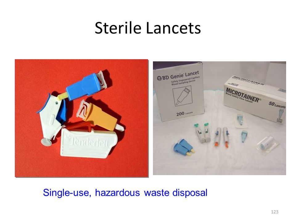 Sterile Lancets Single-use, hazardous waste disposal