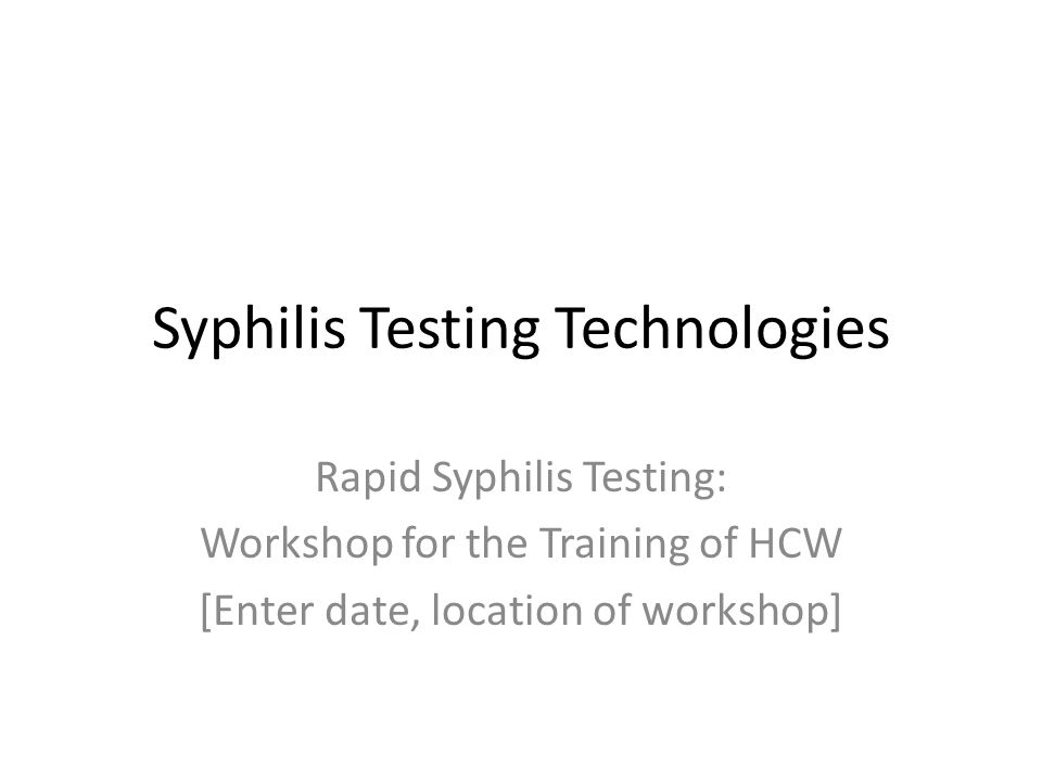 Syphilis Testing Technologies